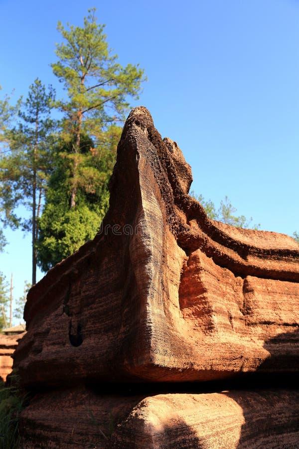 红色石森林在湖南,中国 免版税库存照片