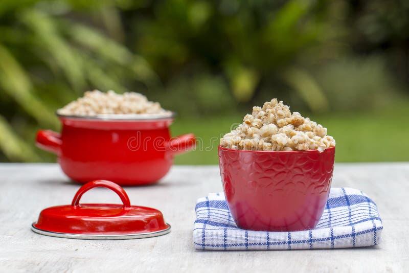 红色碗和平底锅用煮沸的麦子粥-传统膳食在乌克兰、白俄罗斯和俄罗斯 免版税库存照片
