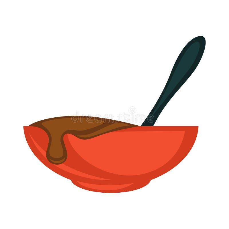 红色碗用热的熔化巧克力和黑匙子 库存例证