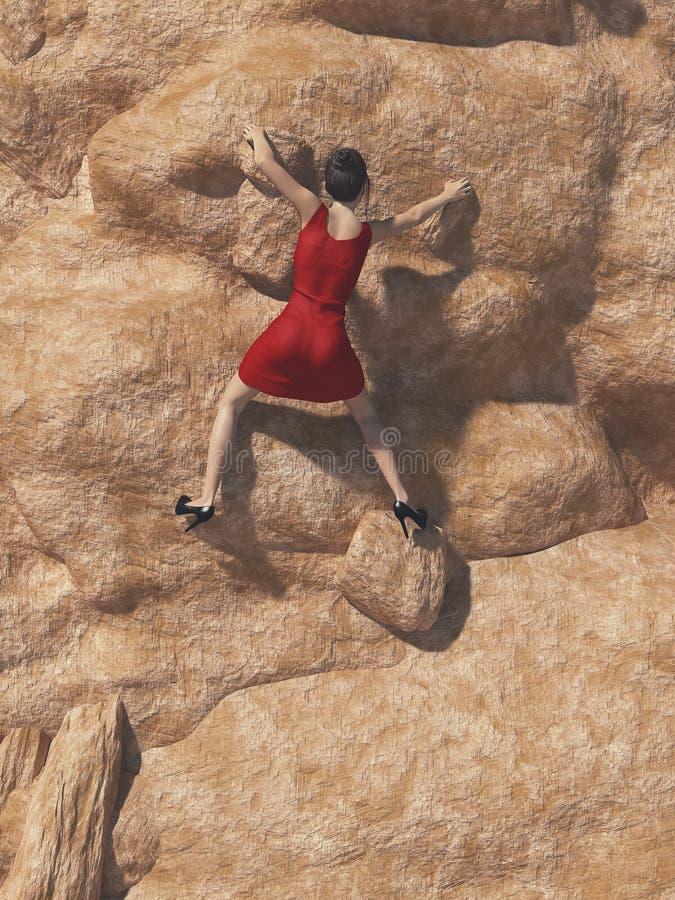 红色礼服和高跟鞋的少妇 皇族释放例证