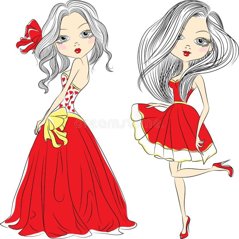 红色礼服的传染媒介集合美丽的时尚女孩 向量例证