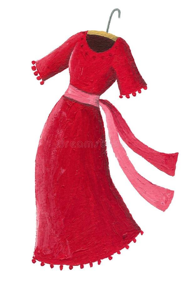 红色礼服的例证在白色背景隔绝的挂衣架的 向量例证