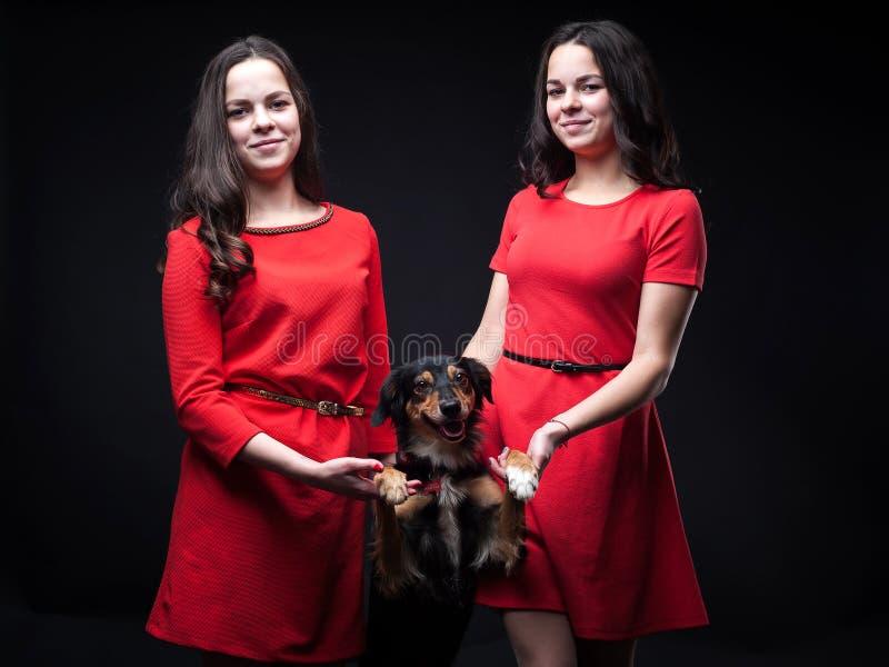 红色礼服的女孩有在黑背景的狗的 库存照片