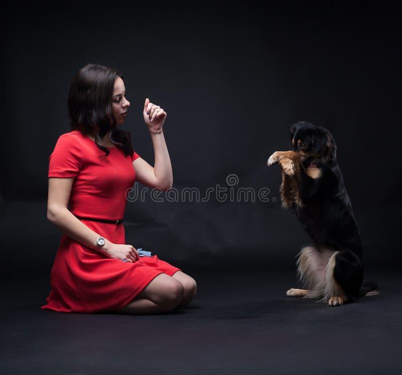 红色礼服的女孩有在黑背景的狗的 库存图片