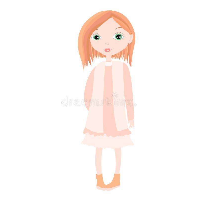 红色礼服的年轻和美丽的红头发人时尚女孩 库存例证