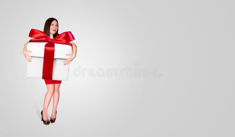 红色礼服的愉快的美丽的女孩在有红色丝带的手大白色礼物盒保留在轻的背景 圣诞节假日c 免版税库存照片