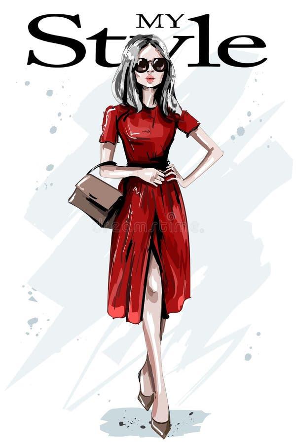 红色礼服的手拉的美丽的少妇 有袋子的时髦的典雅的女孩 时尚妇女成套装备 向量例证