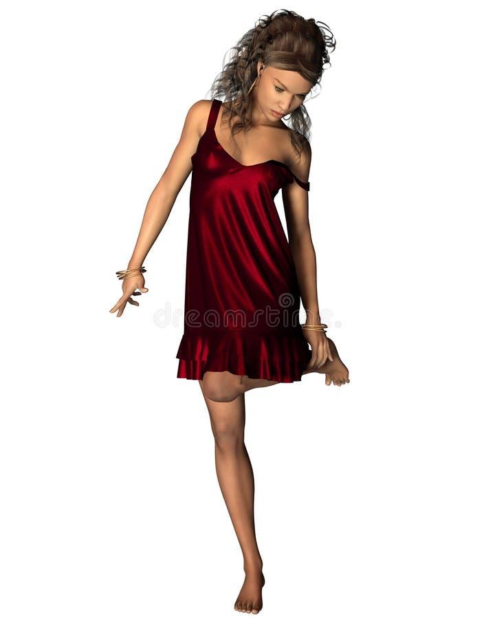 红色礼服的拉丁妇女 库存例证