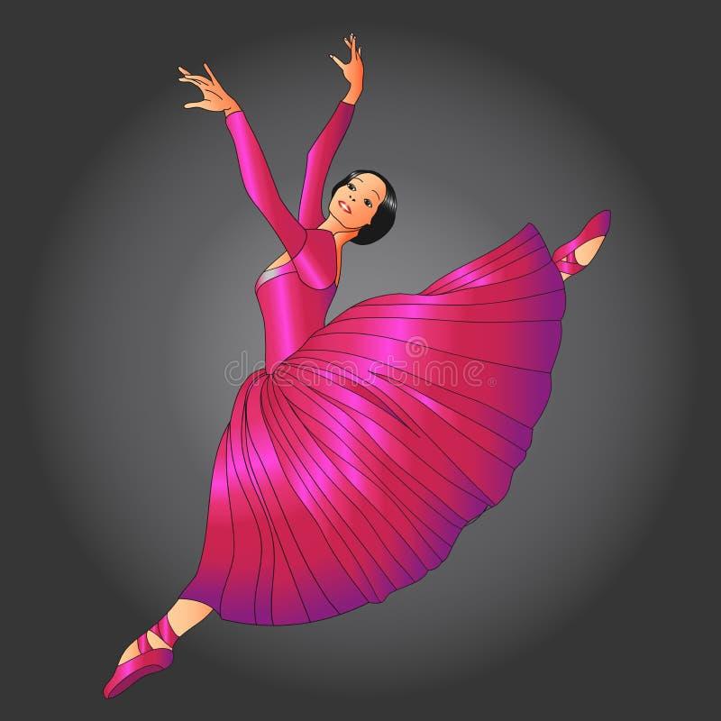 红色礼服的舞蹈演员 皇族释放例证