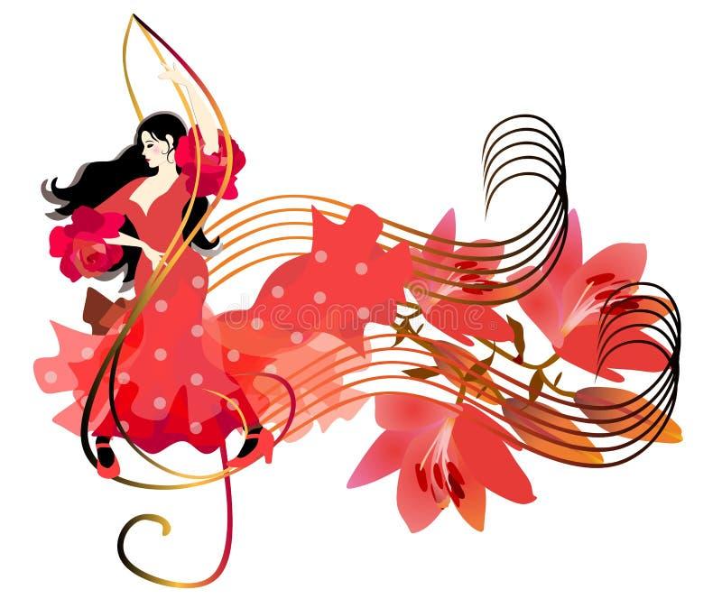 红色礼服跳舞的美丽的西班牙女孩在高音谱号 百合花束在音乐线的作为笔记 o 向量例证