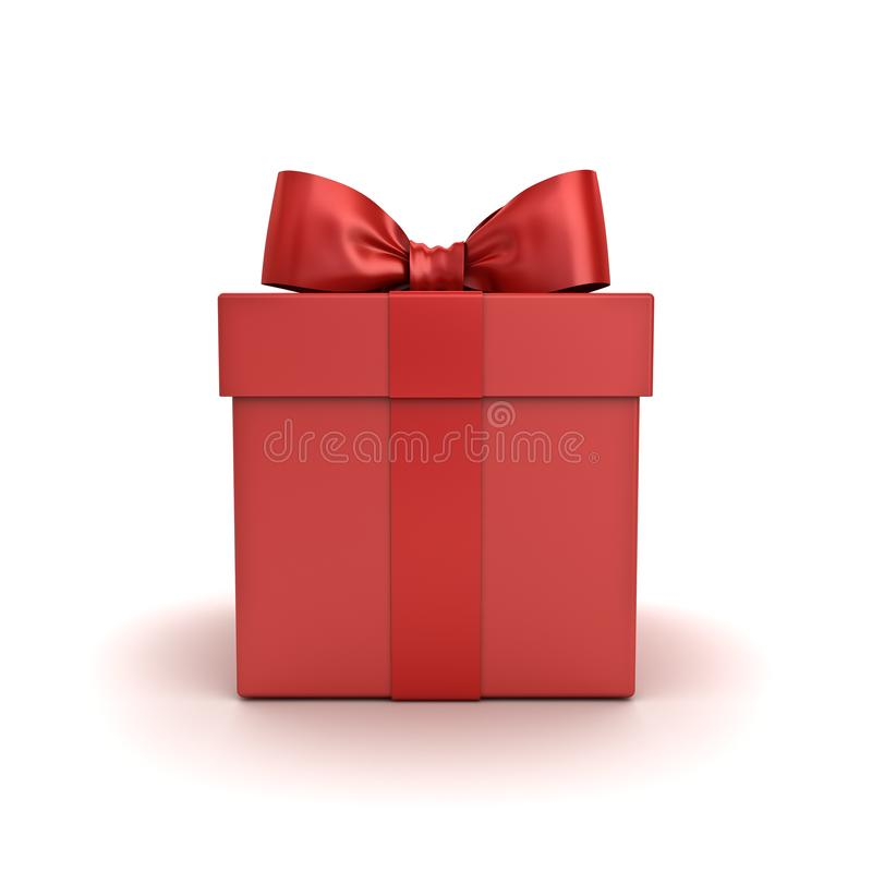 红色礼物盒或当前箱子有在白色背景隔绝的红色丝带弓的 图库摄影