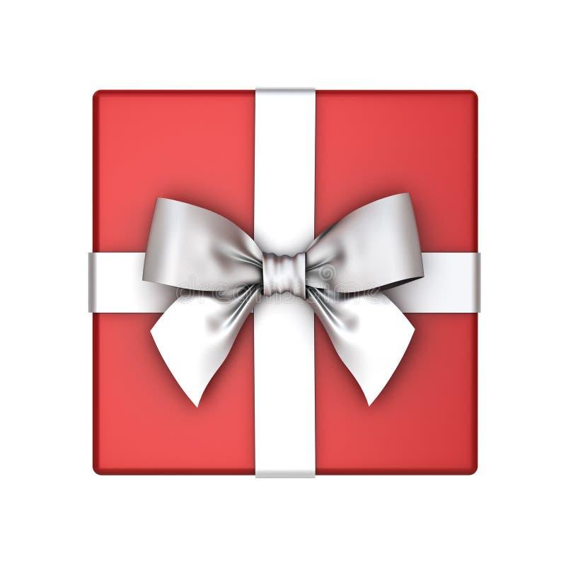 红色礼物盒或当前箱子有在白色背景隔绝的银色丝带弓的 免版税图库摄影