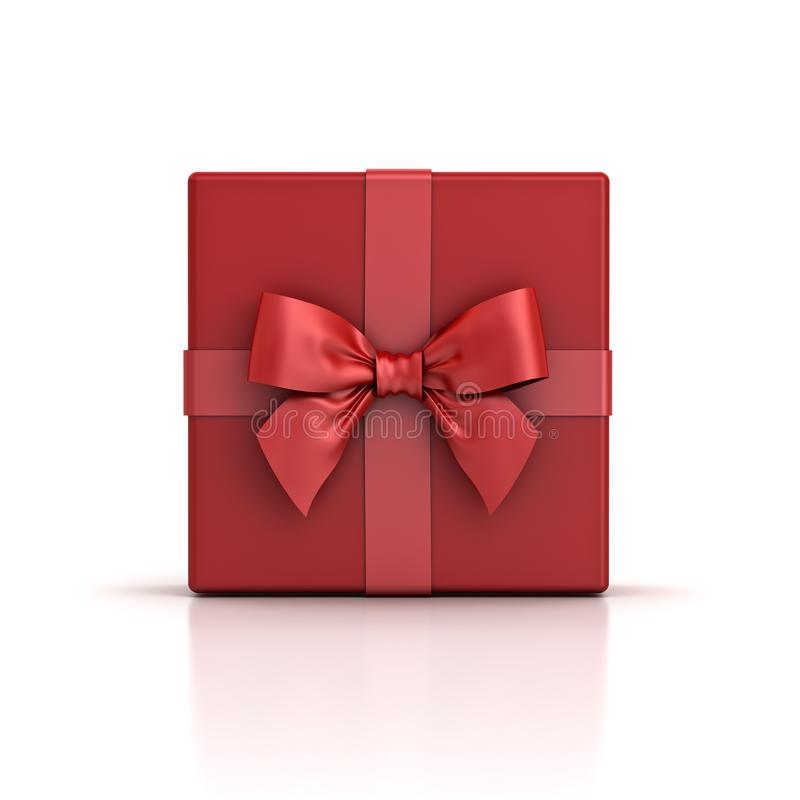 红色礼物盒或红色当前箱子有在白色背景隔绝的红色丝带弓的 库存例证