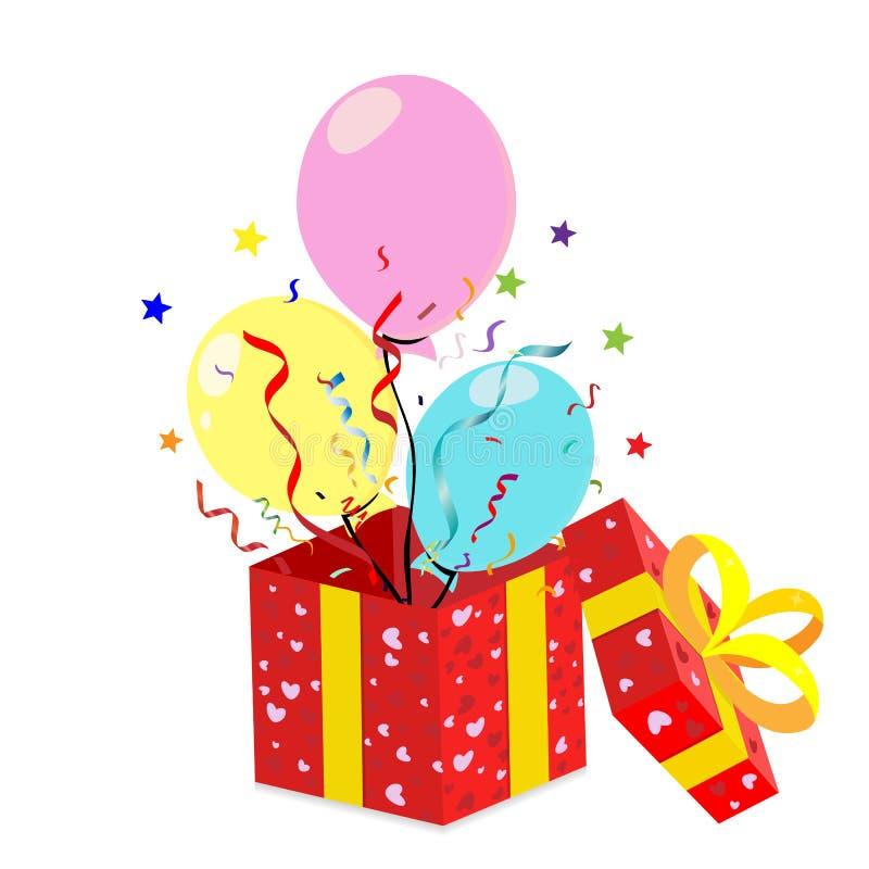 红色礼物盒 五颜六色的多彩多姿的气球 在平的样式的束 背景查出的白色 向量 库存例证