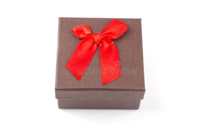 红色礼盒白色背景, 库存照片