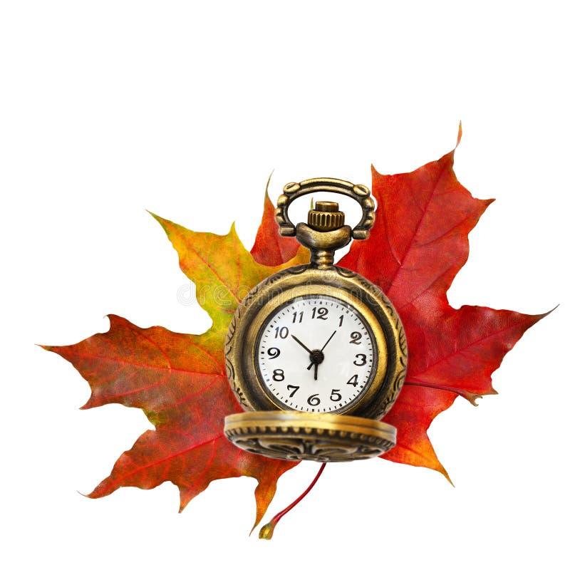红色秋天枫叶和时钟 免版税图库摄影