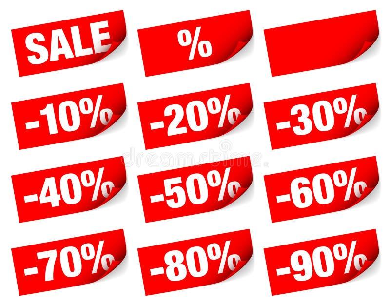 红色稠粘的笔记销售负号 库存例证