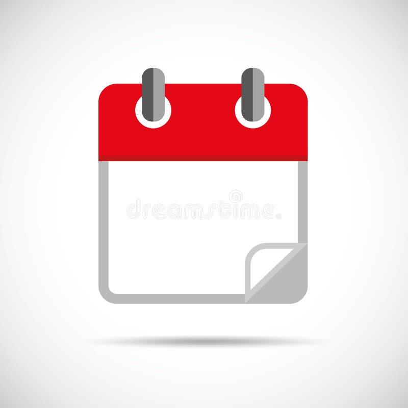 红色空白的日历象 皇族释放例证