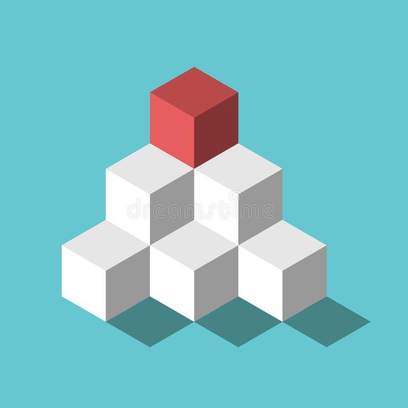 红色立方体,金字塔上面 向量例证