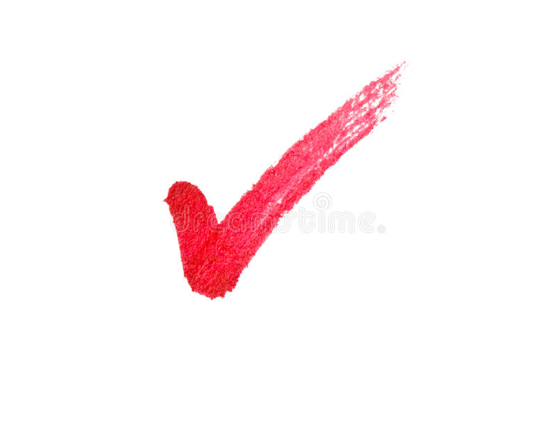 红色符号滴答声 免版税库存照片