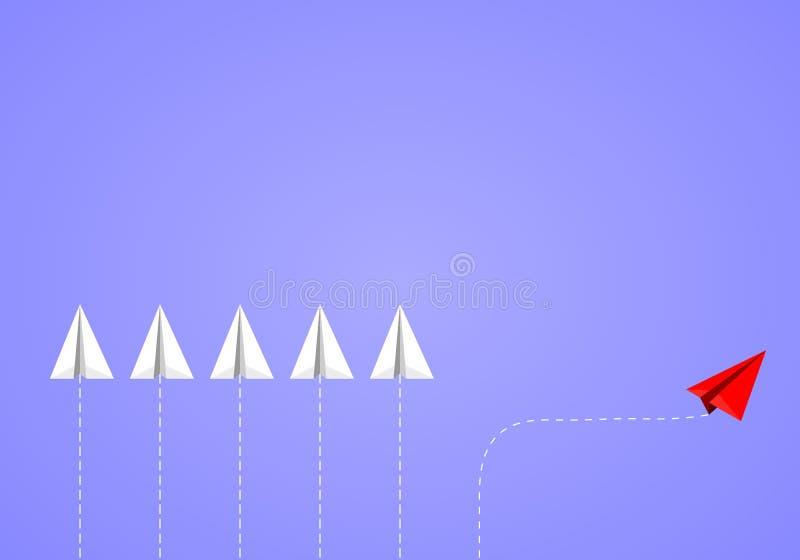 红色等量纸从白色队的飞机改变的方向在蓝色背景 库存例证
