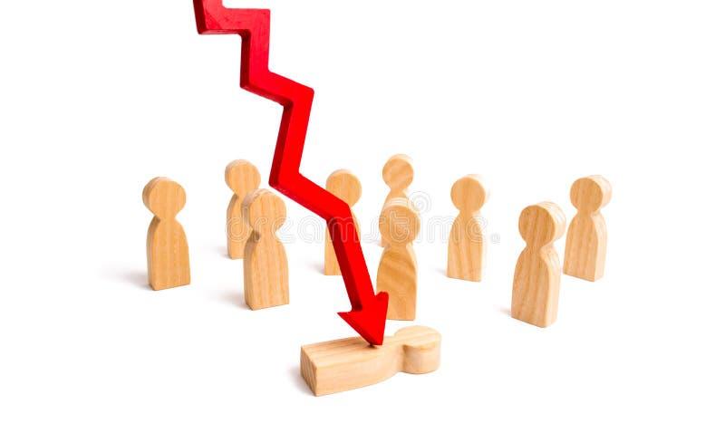 红色箭头劈开在人群前面的人 心理压力的概念 经济危机的受害者, fallin 免版税库存图片