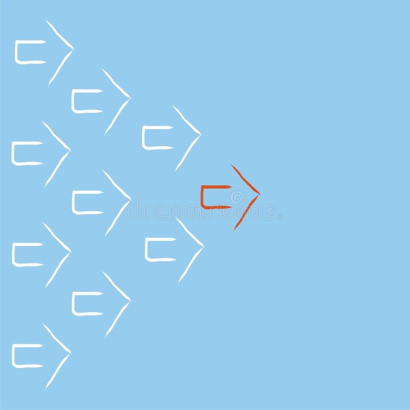 红色箭头带领的白色箭头 免版税库存图片