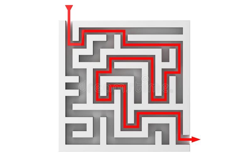 红色箭头通过迷宫移动 库存例证