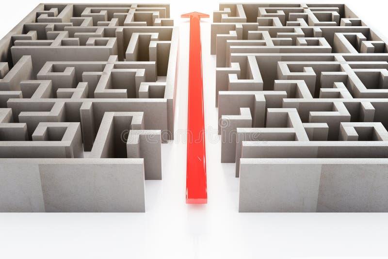 红色箭头通过迷宫 向量例证