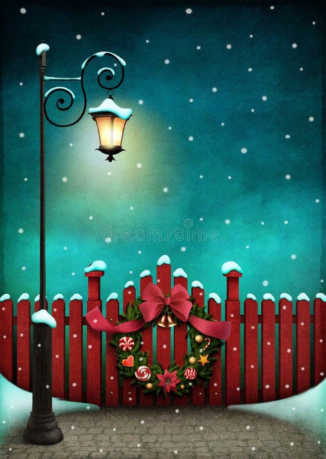 红色篱芭和圣诞节花圈 皇族释放例证