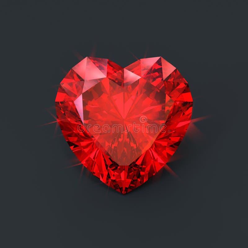 红色红宝石心脏 向量例证