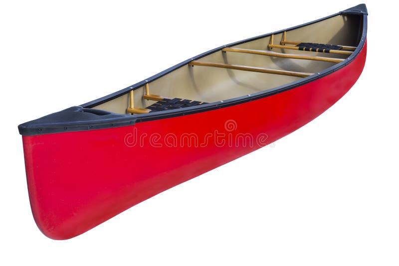 红色纵排独木舟 免版税库存图片
