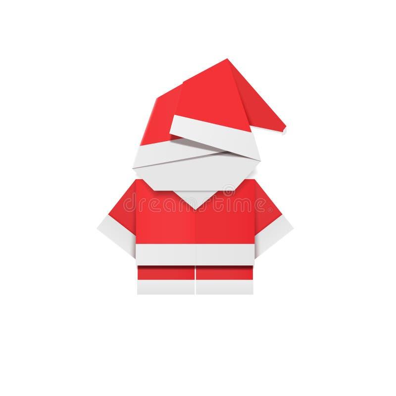 红色纸圣诞老人 Origami父亲圣诞节 新年装饰纸盒玩具 库存例证