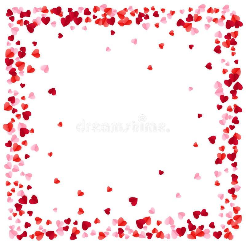 红色纸心脏构筑背景 心脏构筑与文本的空间 浪漫疏散心脏纹理 向量例证