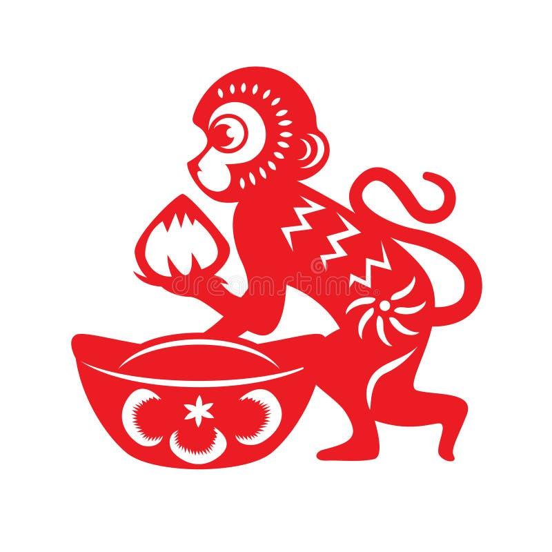 红色纸裁减猴子黄道带标志(拿着桃子和中国古老金钱)的猴子 皇族释放例证