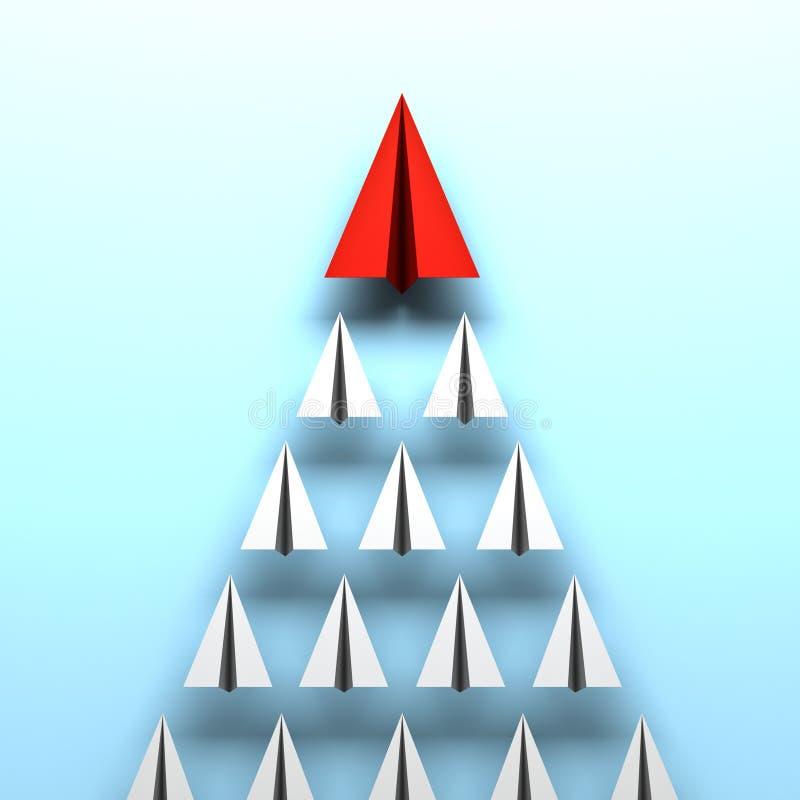 红色纸飞机带领在蓝色背景领导概念的白皮书飞机 皇族释放例证