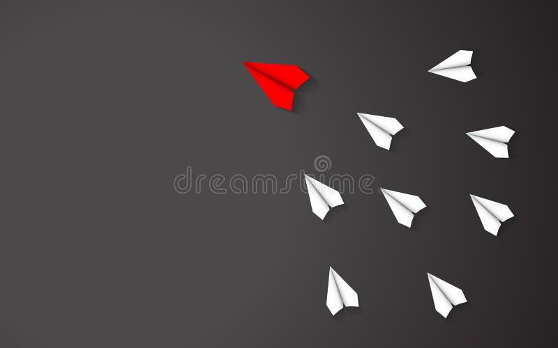 红色纸飞机概念领导在白皮书飞机之间的在黑背景 中心人物和事务成功与 皇族释放例证