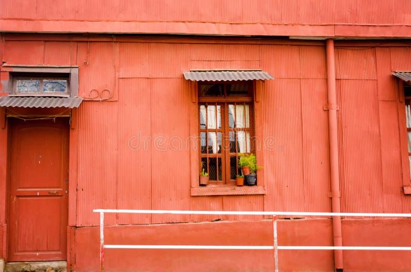 红色纹理在Valparasio,智利 库存图片