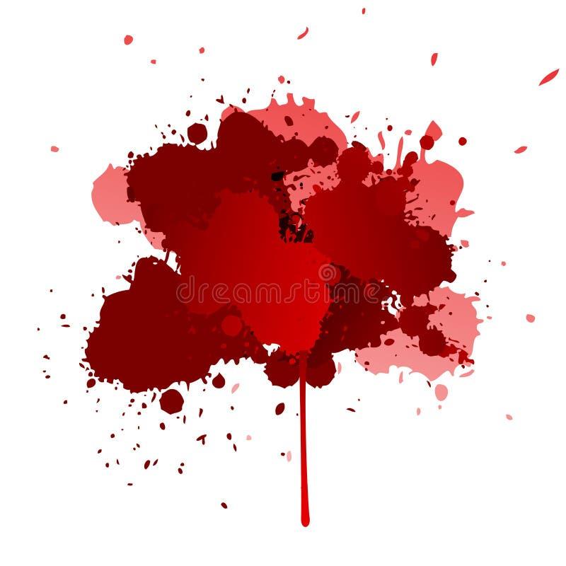 红色纹理,污点,飞溅,斑点,下落设计元素 库存例证
