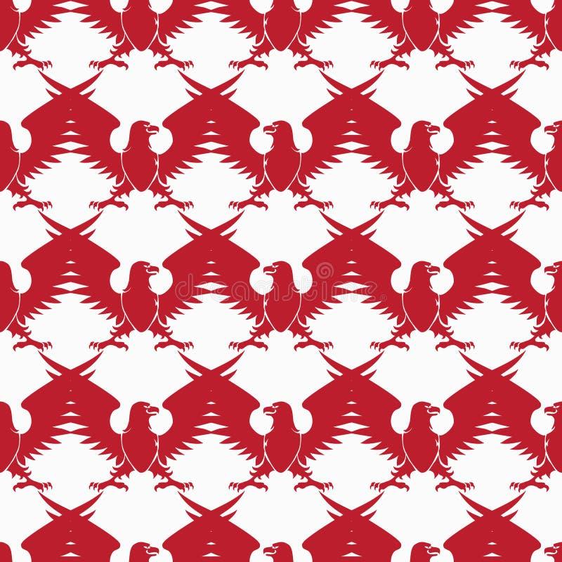 红色纹章学老鹰剪影无缝的样式 库存例证