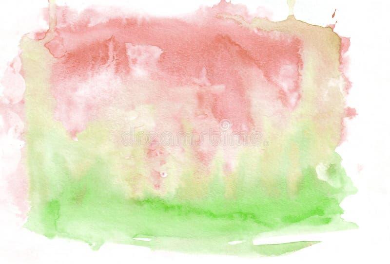 红色绯红色和绿色柠檬绿混合了抽象水彩背景 它` s有用为贺卡,华伦泰,信件 H 向量例证