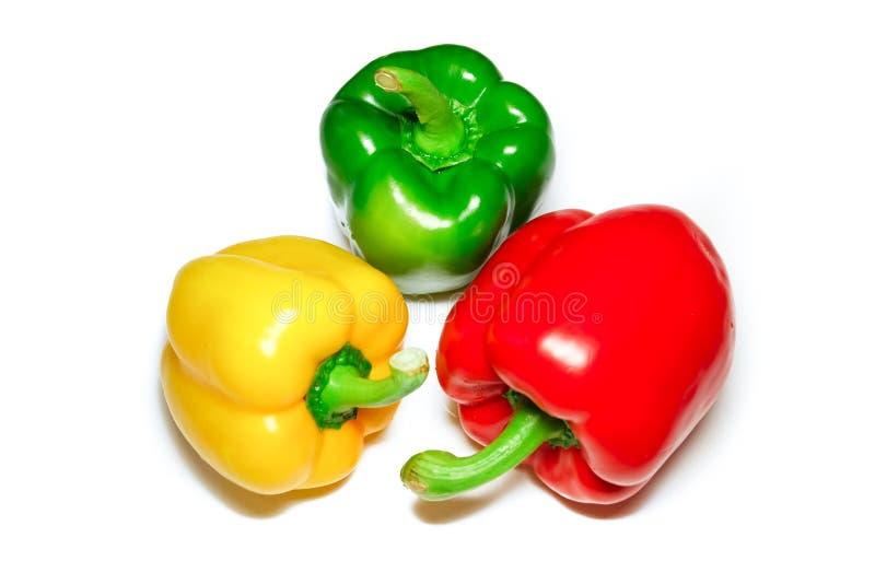 红色绿色黄色胡椒 免版税库存照片