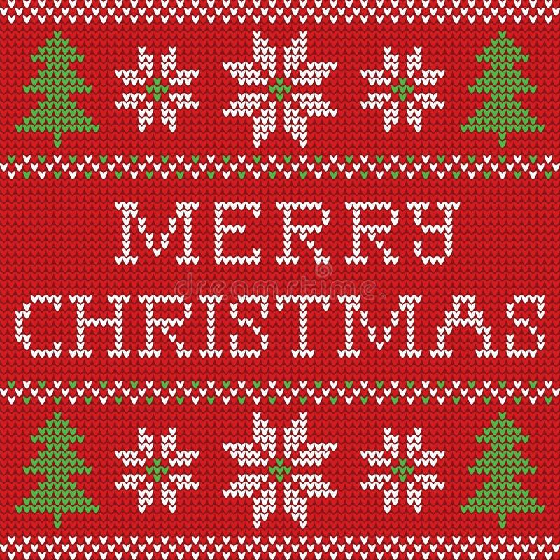红色编织了有鹿的圣诞节毛线衣并且签署无缝的样式 向量例证