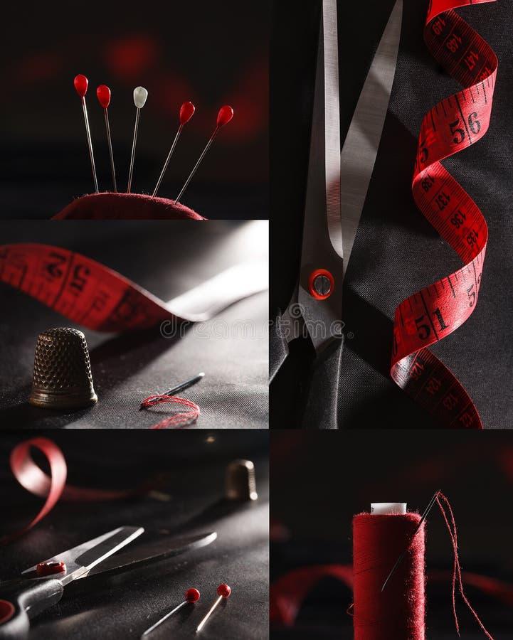 红色缝合的供应和黑颜色拼贴画 库存图片