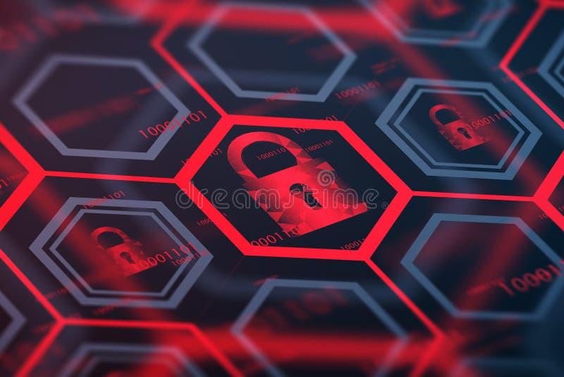红色网上安全数字按钮 库存例证