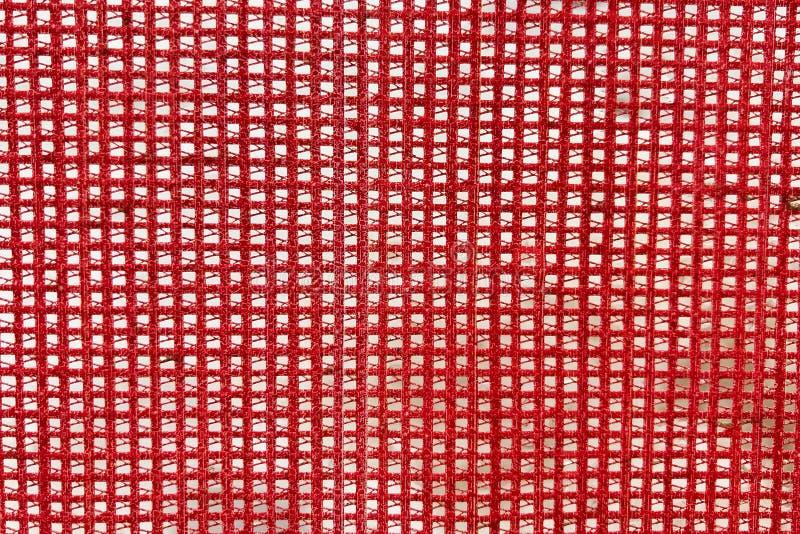 红色网眼织物,特写镜头,背景,纹理 免版税库存照片