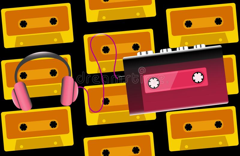 红色老减速火箭的卡型盒式录音机的葡萄酒行家现实容量便携式的音乐磁带音频球员从80 ` s, 90 ` s 向量例证