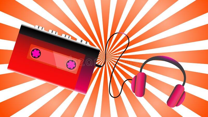 红色老减速火箭的演奏的卡型盒式录音机葡萄酒行家现实容量便携式的音乐磁带音频球员从80 ` s 库存例证