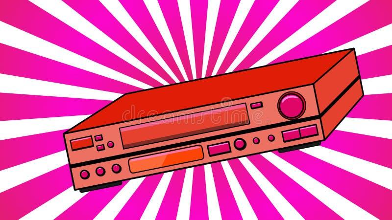 红色老录影带的葡萄酒容量减速火箭的行家古董录影机观看的电影的,从80 ` s, 90的录影 皇族释放例证