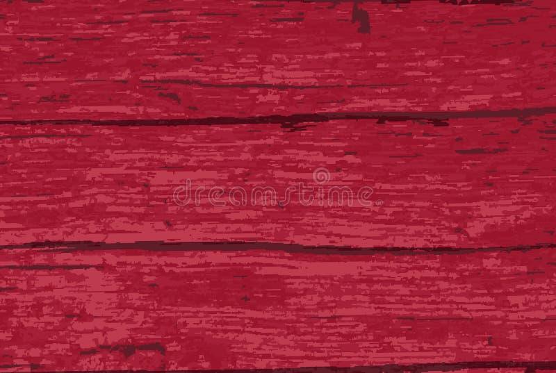 红色老木材背景 向量例证